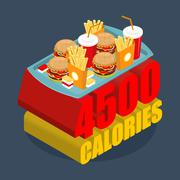 Fast food calorie range. Many of junk food. Hamburgers and french frying. Che - stock illustration