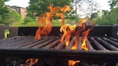 Top of charcoal grill, burning in a public park Stock Footage