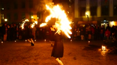 A group of women fire dancers performing during the sixth annual Culture Night Stock Footage