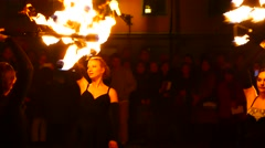 A group of women fire dancers performing during the sixth annual Culture Night - stock footage
