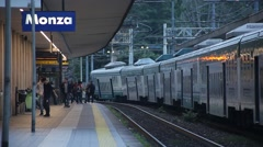 Monza, Italy. Train Station. Train Leaving Stock Footage