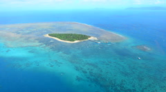 Aerial view of Green Island reef at the Great Barrier Reef Queensland Australia - stock footage