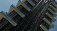 Panorama of Residential skyscrapers seen from below in Milan, Italy Stock Footage