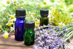 essential oils for aromatherapy treatment - stock photo