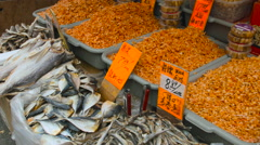 Dead Dry Fish at the Fish Market in China Town New York City during the Summer Stock Footage