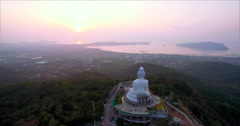 Sunrise Over Big Buddha and Chalong in Phuket Thailand Drone Aerial Shot Stock Footage