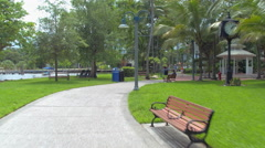 Scenic pedestrian path in Fort Lauderdale Stock Footage