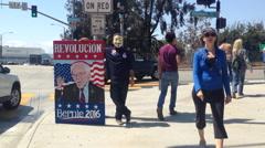 Bernie Sanders Supporter at Santa Monica Rally Stock Footage