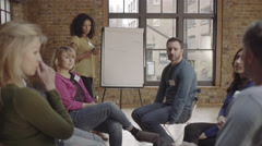 Group in workshop looking at whiteboard Stock Footage
