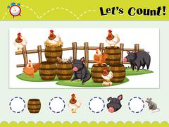 Game template for counting animals Stock Illustration