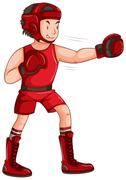 Man in red outfit doing boxing Stock Illustration
