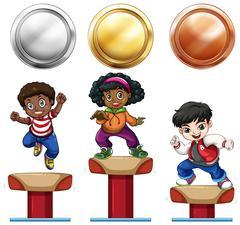 Sport medals and children on balance bar Stock Illustration