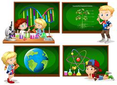 Children and different school subjects Stock Illustration