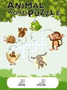 Game template for animal word puzzle Stock Illustration