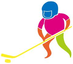 Sport icon with man playing hockey Stock Illustration