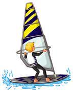 Man athlete sailing on surfboard Stock Illustration