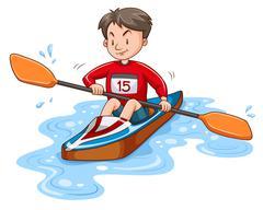 Man athlete canoeing on water Stock Illustration