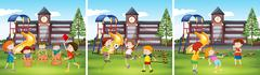 Children playing at the school ground Stock Illustration