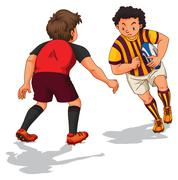 Two people doing rugby Stock Illustration
