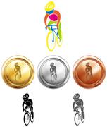 Cycling and three medals Stock Illustration