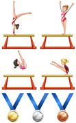 Gymnastics and woman athletes Stock Illustration