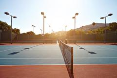 Outdoor tennis court with nobody in Malibu - stock photo