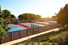 Outdoor tennis court with nobody in Malibu Stock Photos