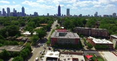 Ponce City Market Atlanta Aerial Track Forward from Skyline to Building Sign Stock Footage