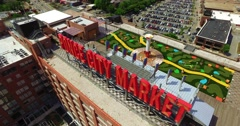 Ponce City Market Atlanta Aerial Track Building Sign Right to Left and Backwards Stock Footage