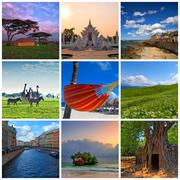Collage made of travel photos - stock photo