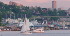 Sailboats and Catamarans float in Lake Union with Seattle, WA city skyscrapers Stock Footage