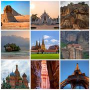 Collage with various travel photos Stock Photos