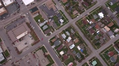 A cool aerial shot over houses in a suburb city neighborhood Stock Footage