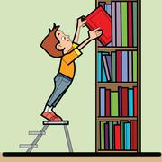 Boy book library reading Stock Illustration