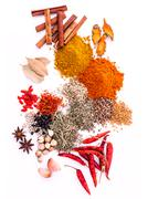 Assorted of spices black pepper ,white pepper,fenugreek,cumin ,bay leaf ,cinn Stock Photos