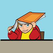 schoolboy Desk textbook - stock illustration