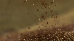 Oil developing plant, beautiful healthy flax seeds falling in pile, slow motion Stock Footage