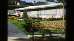 1968: Newly constructed vacation condominiums in fancy golf residential - stock footage