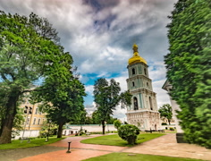 Bell Tower of the Cathedral of St. Sophia in Kiev Stock Footage