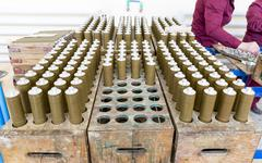 RPG explosives in munition factory Stock Photos