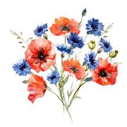 Wild flower bouquet - stock illustration