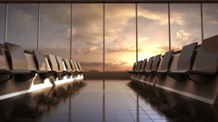 Flight waiting hall. lounge, sunset. 3D rendering. - stock footage