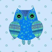 Cute owl with ethnic ornament - stock illustration