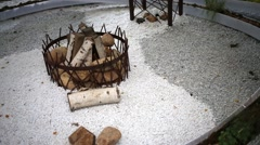 Composition of wood and stones laid out in center Stock Footage
