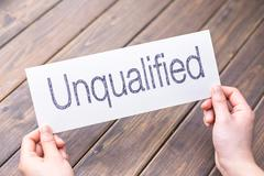 Unqualified to qualified on paper Stock Photos