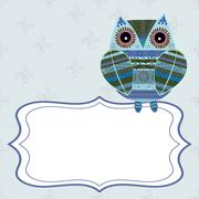 Cute owl with ethnic ornament text box - stock illustration