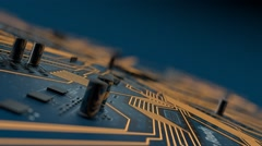 Fly above CPU processor and  motherboard elements. Circuit board 3D animation Stock Footage