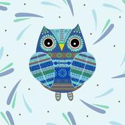 Cute owl with ethnic ornament Stock Illustration