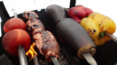 Cooking on a wood stove. Sausages, tomatoes, egg-plants, bell peppers on grill Stock Footage