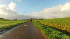 Green Wide Field in Nature and Dreamy Clouds Stock Footage